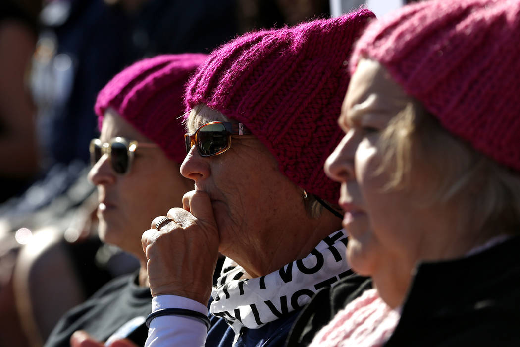 Attendees watch speakers at the Power to the Polls event, hosted by the Women's March, at the Sam Boyd Stadium in Las Vegas, Jan. 21, 2018. The event, which served as an advocacy tool to register  ...