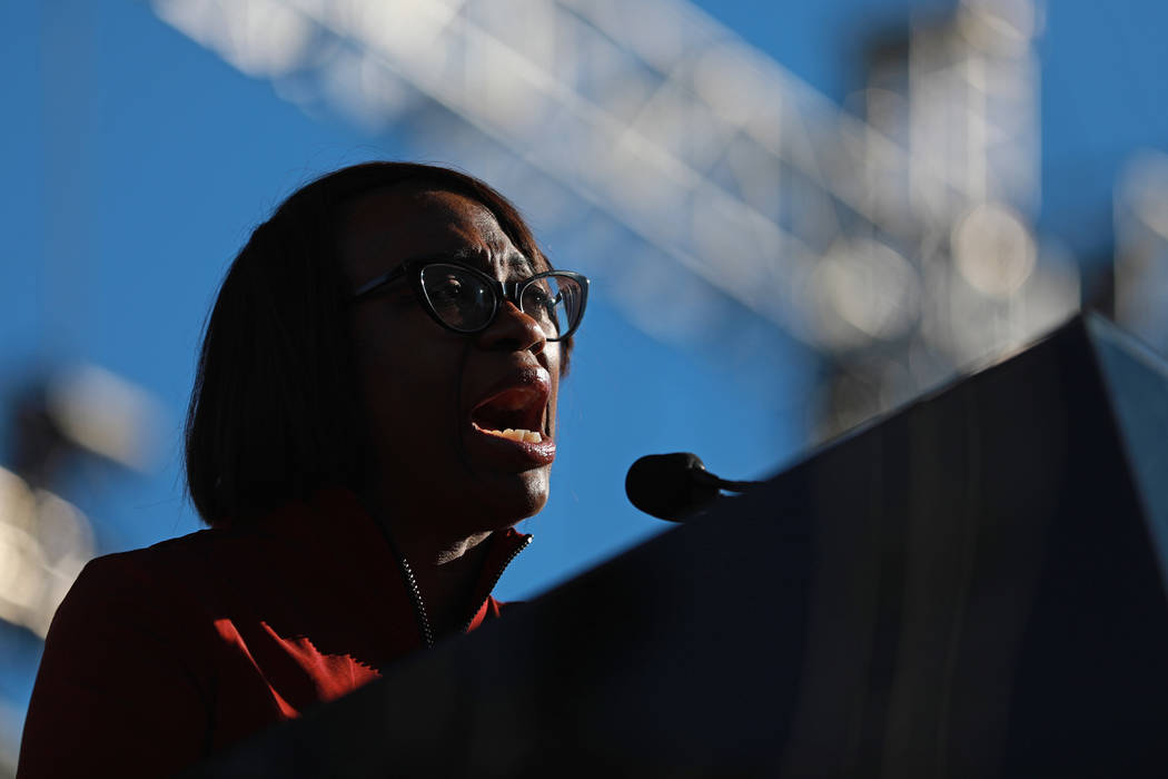Nina Turner, of Our Revolution, addresses the crowd during the Power to the Polls event, hosted by the Women's March, at the Sam Boyd Stadium in Las Vegas, Jan. 21, 2018. The event, which served a ...