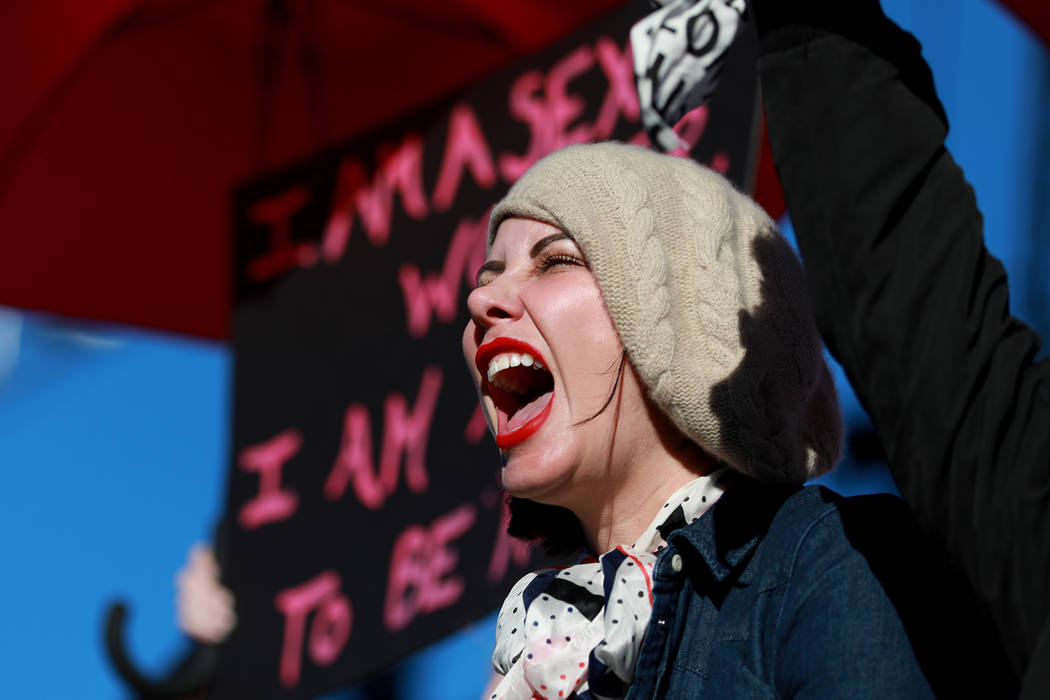 Madeline Marlowe cheers during the Power to the Polls event, hosted by the Women's March, at the Sam Boyd Stadium in Las Vegas, Jan. 21, 2018. The event, which served as an advocacy tool to regist ...