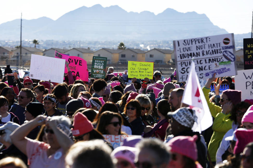 Attendees gather for the Power to the Polls event, hosted by the Women's March, at the Sam Boyd Stadium in Las Vegas, Jan. 21, 2018. The event, which served as an advocacy tool to register new vot ...