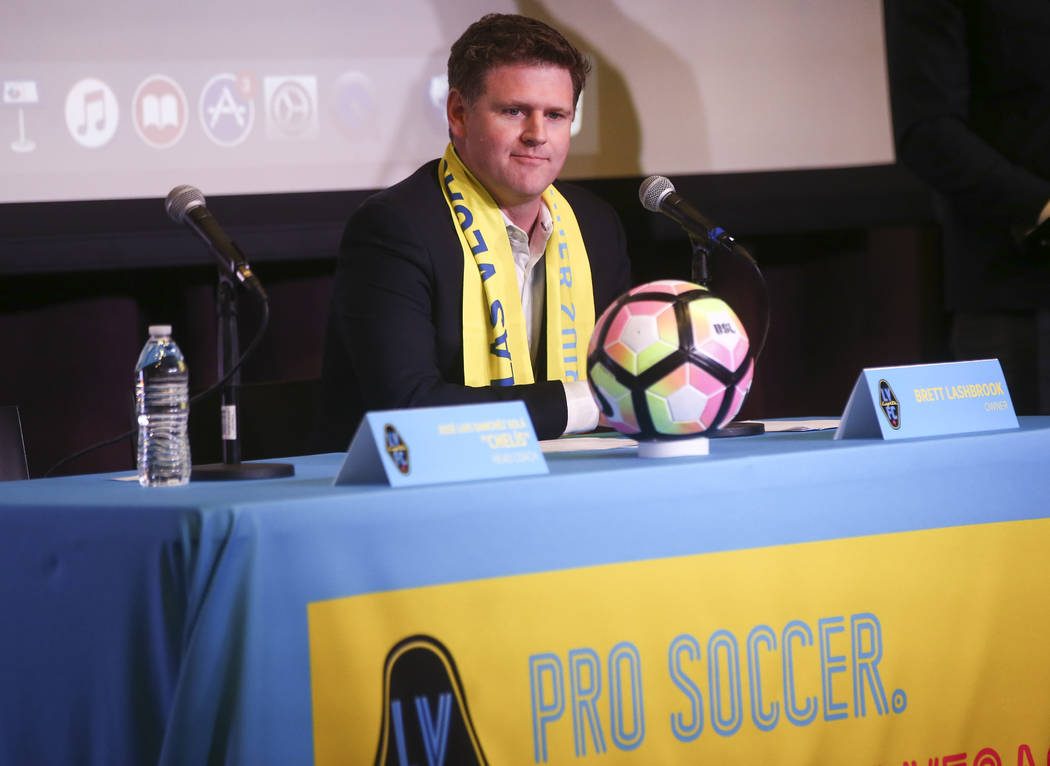 Las Vegas Lights FC owner Brett Lashbrook introduces Jose Luis Sanchez Sola, also known as as Chelis, as the team's first coach at Inspire Theater in downtown Las Vegas on Tuesday, Nov. 14, 2017.  ...