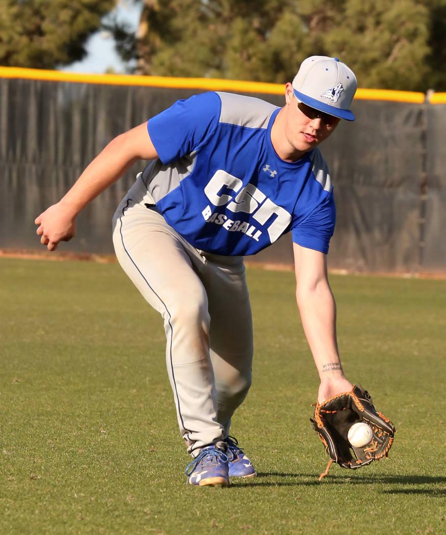College of Southern Nevada baseball player Joey Takashi O'Brien catches a ground ball during practice at CSN baseball stadium on Tuesday January, Jan. 16, 2018, in Henderson. Bizuayehu Tesfaye/Las ...