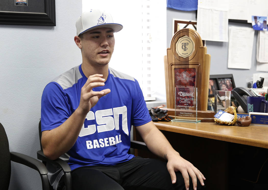 College of Southern Nevada baseball player Joey Takashi O'Brien speaks during an interview with the Las Vegas Review-Journal at CSN baseball stadium on Tuesday January, Jan. 16, 2018, in Henderson ...