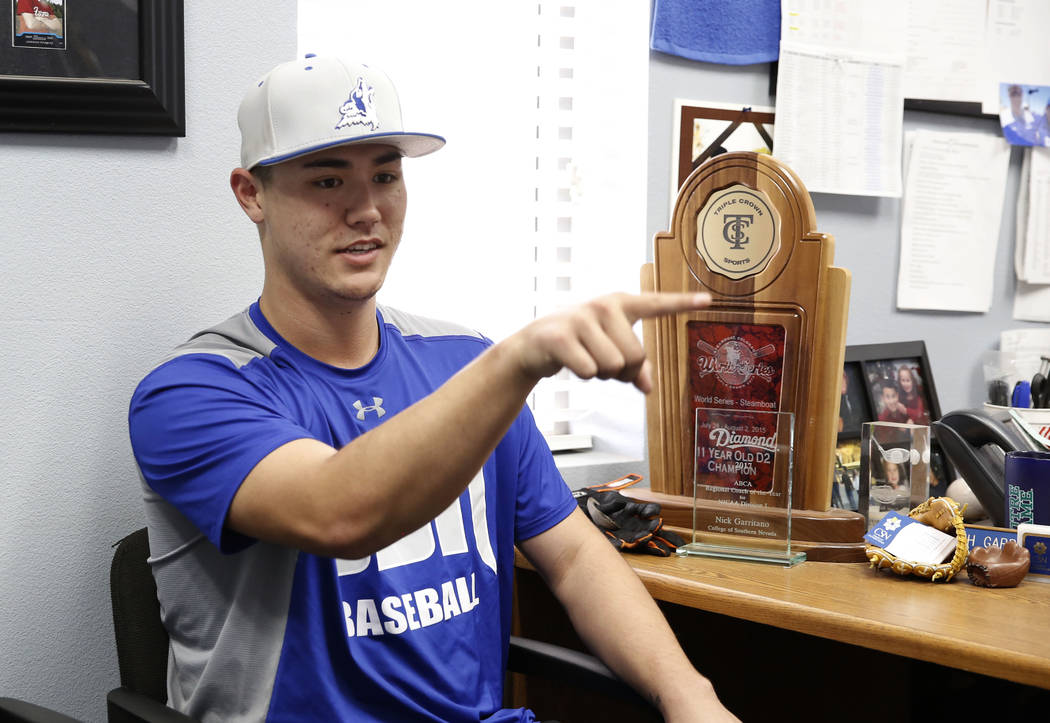College of Southern Nevada baseball player Joey Takashi O'Brien gestures as he talks about his pitching during an interview with the Las Vegas Review-Journal at CSN baseball stadium on Tuesday Jan ...