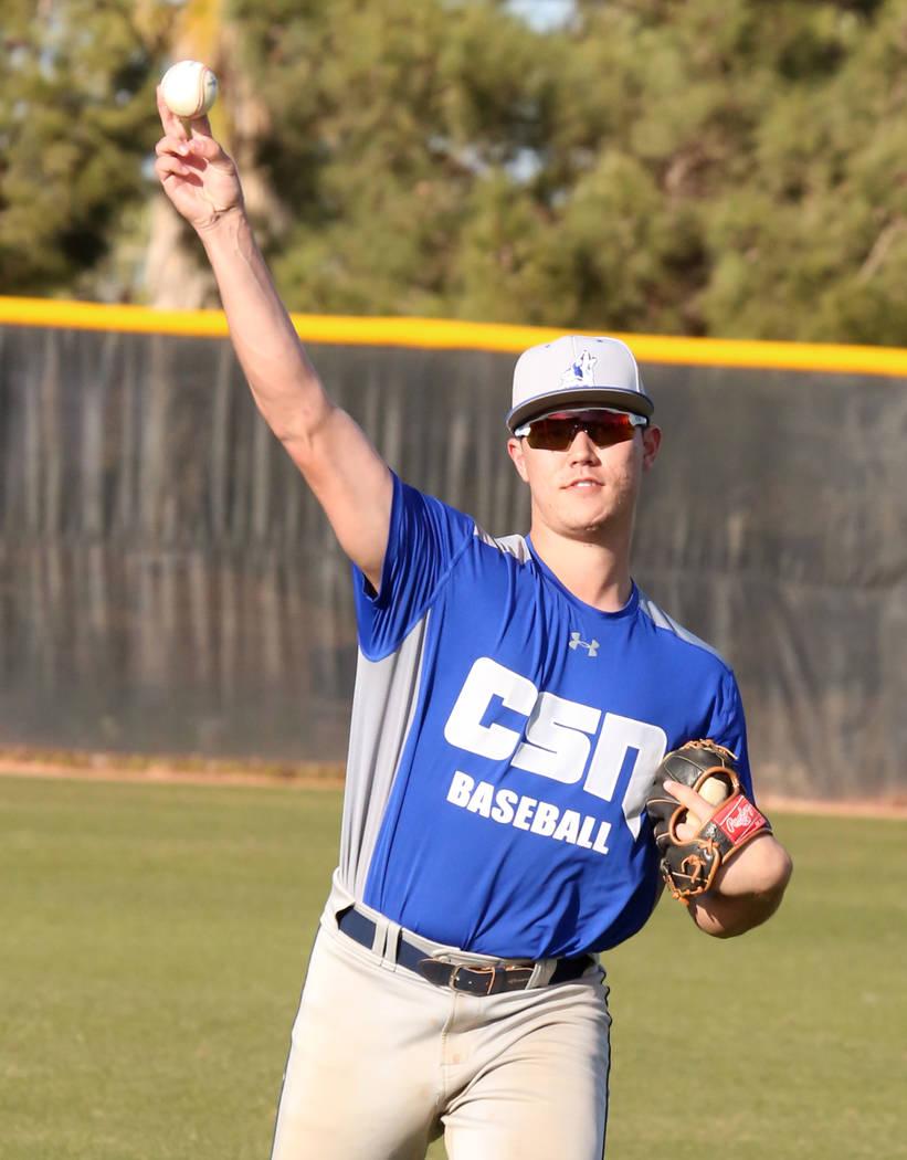 College of Southern Nevada baseball player Joey Takashi O'Brien warms up during practice at CSN baseball stadium on Tuesday January, Jan. 16, 2018, in Henderson. Bizuayehu Tesfaye/Las Vegas Review ...