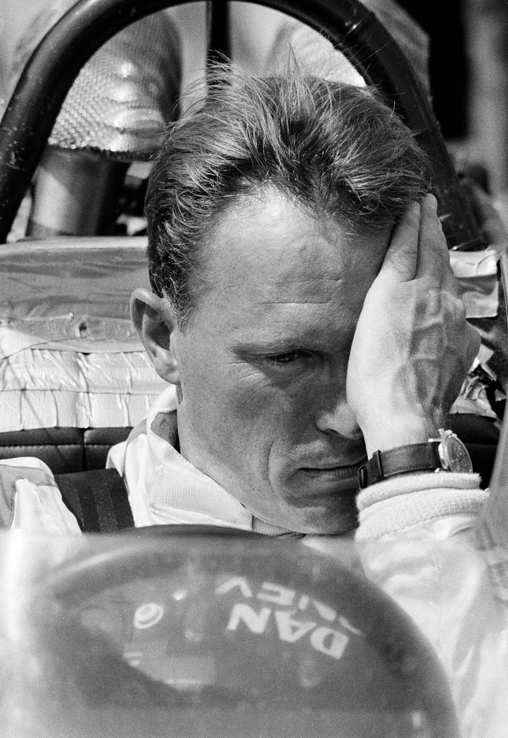 FILE - This May 31, 1969 file photo shows Grand Prix racer Dan Gurney. Gurney, the first driver to win in Formula One, IndyCar and NASCAR, died Sunday, Jan. 14, 2018 from complications of pneumoni ...
