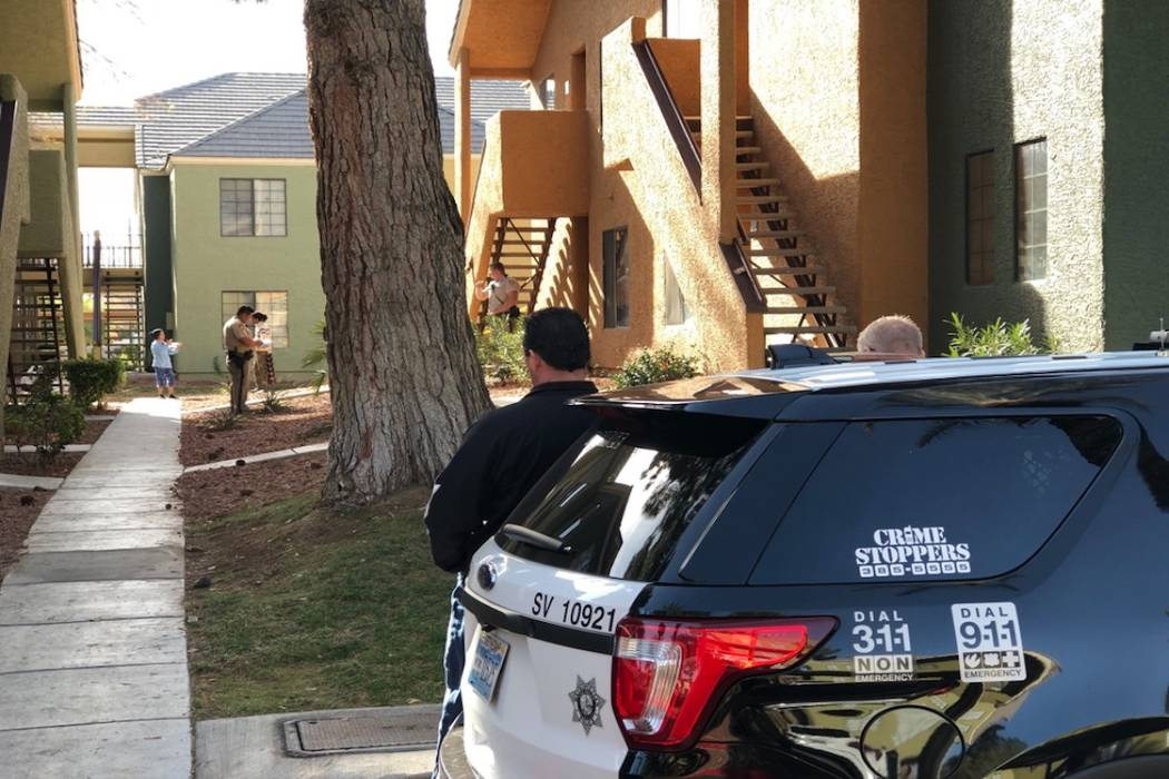 Las Vegas homicide detectives investigate after two bodies were found inside an apartment in the central valley on Monday, January 15, 2018. (Rio Lacanlale/Las Vegas Review-Journal)