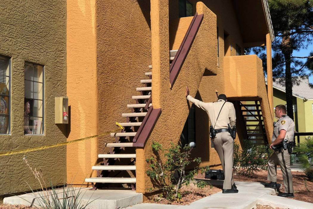 Two people were found dead in an apartment in the 2600 block of South Decatur Boulevard, Monday, Jan. 15, 2018. (Rio Lacanlale/Las Vegas Review-Journal)