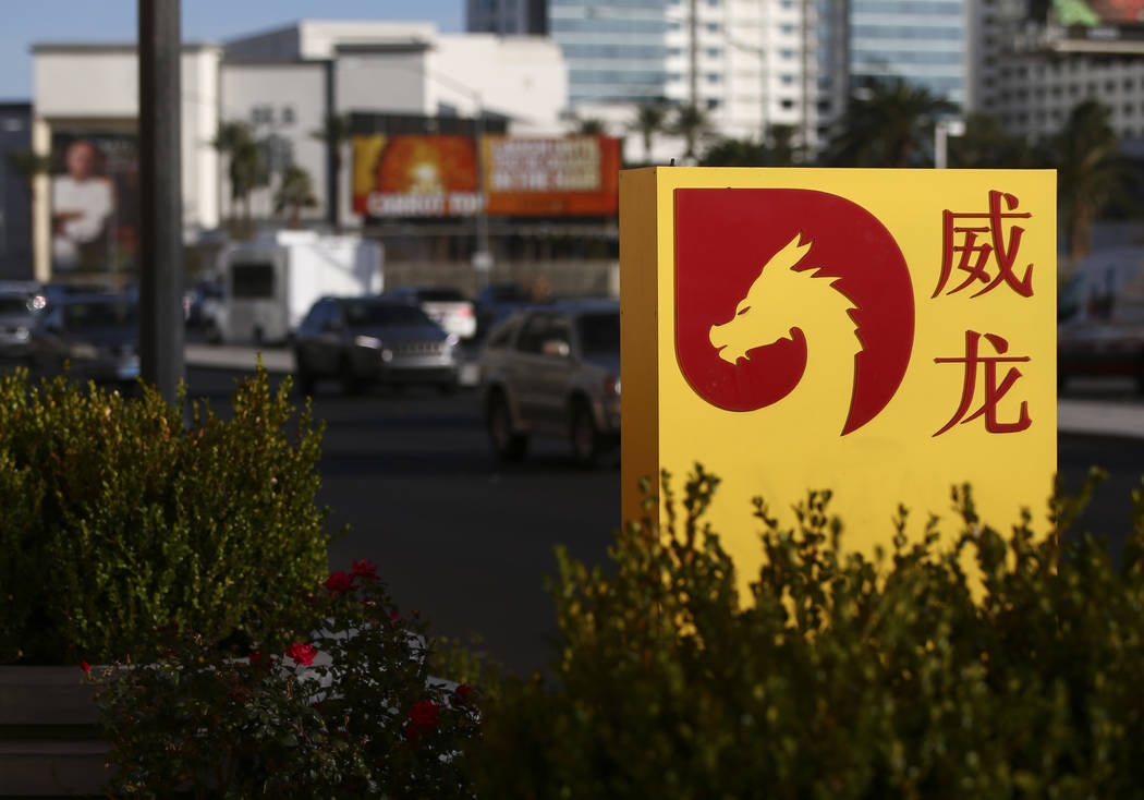Signage outside of Lucky Dragon, which shut down gaming and casino restaurant operations in early Jan., in Las Vegas on Monday, Jan. 15, 2018. (Chase Stevens/Las Vegas Review-Journal) @csstevensphoto