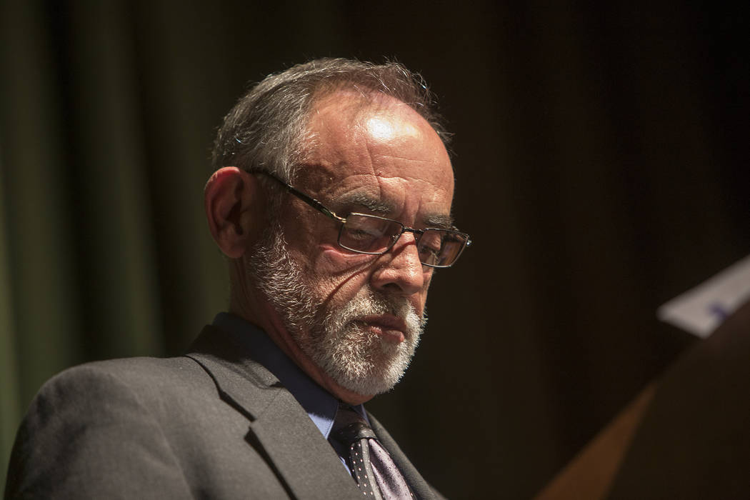 Bob Maya leads a town hall meeting in Las Vegas, Tuesday, Jan. 23, 2018. Rachel Aston Las Vegas Review-Journal @rookie__rae It was the first of five town hall meetings the school district is hosti ...