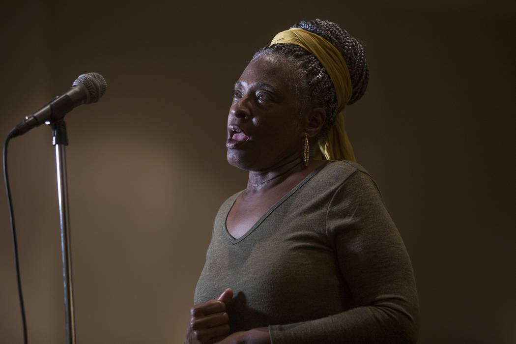 Yvette Bell, grandmother to four students in the Clark Country School District, speaks at a town hall meeting in Las Vegas, Tuesday, Jan. 23, 2018. Rachel Aston Las Vegas Review-Journal @rookie__r ...