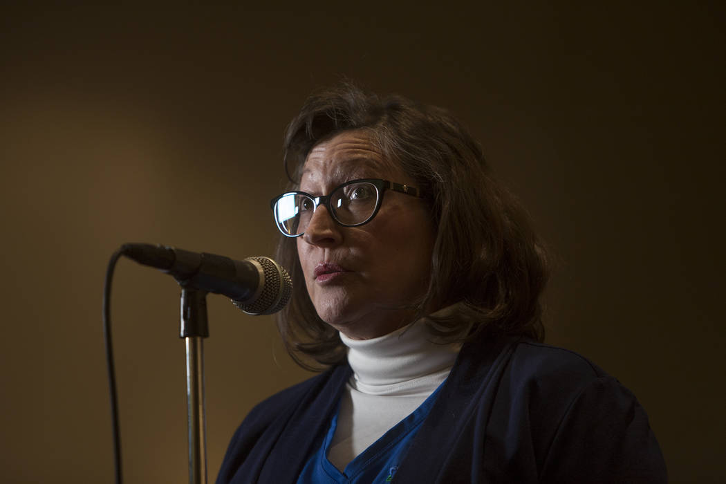 Nancy Sutter speaks at a town hall meeting in Las Vegas, Tuesday, Jan. 23, 2018. Rachel Aston Las Vegas Review-Journal @rookie__rae It was the first of five town hall meetings the school district  ...