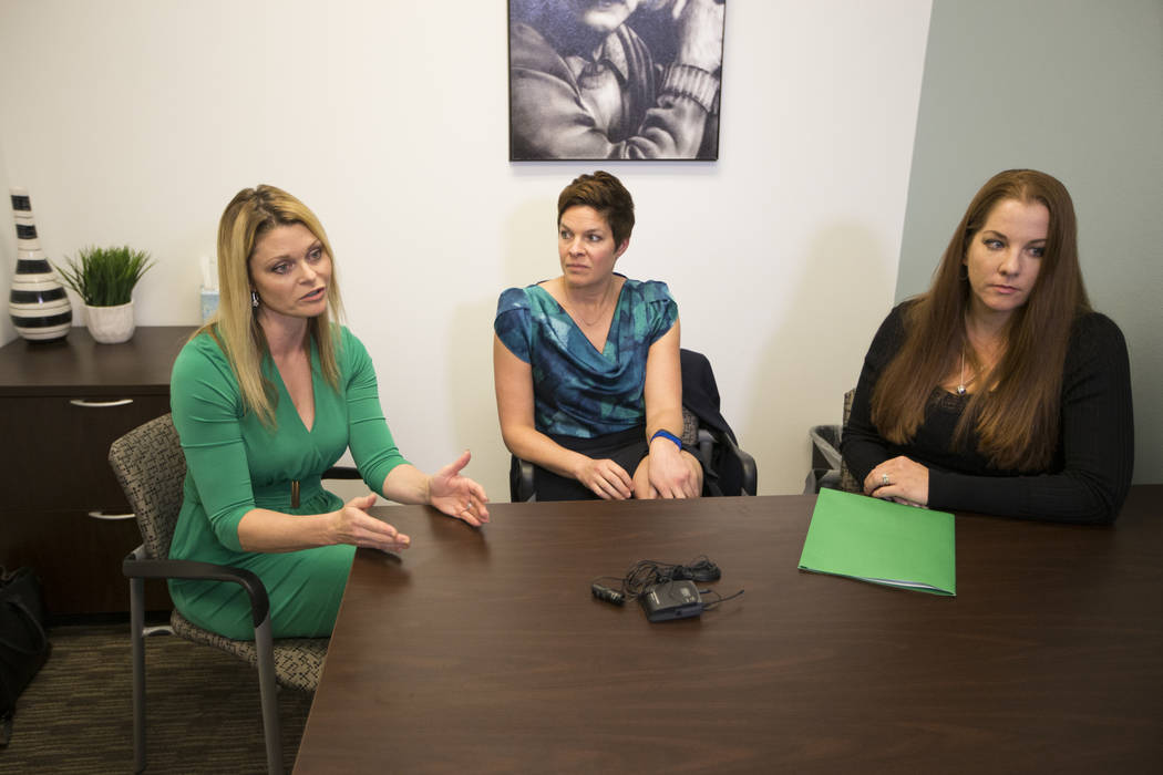 National certified school psychologists from left, Katie Dockweiler, from left, Tracee Guenther , Andrea Walsh, are interviewed by the Las Vegas Review-Journal in a Town Square conference center i ...