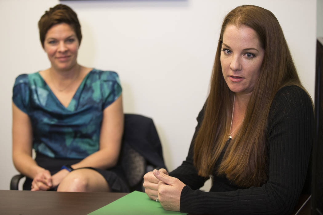 National certified school psychologists Tracee Guenther, left, and Andrea Walsh, are interviewed by the Las Vegas Review-Journal in a Town Square conference center in Las Vegas, Wednesday, Jan. 17 ...