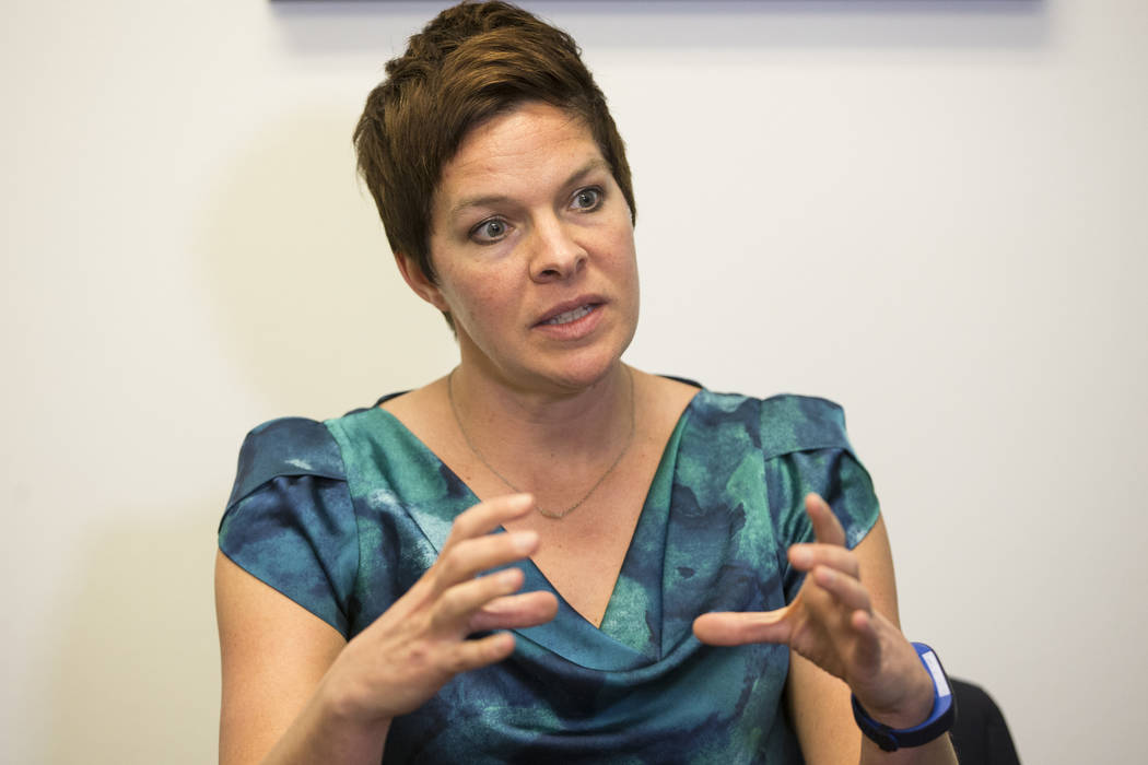 National certified school psychologist Tracee Guenther is interviewed by the Las Vegas Review-Journal in a Town Square conference center in Las Vegas, Wednesday, Jan. 17, 2018. Erik Verduzco Las V ...