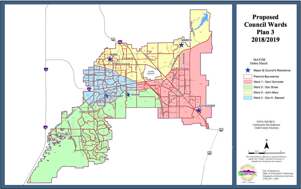 Proposed council wards plan 3. (City of Henderson)