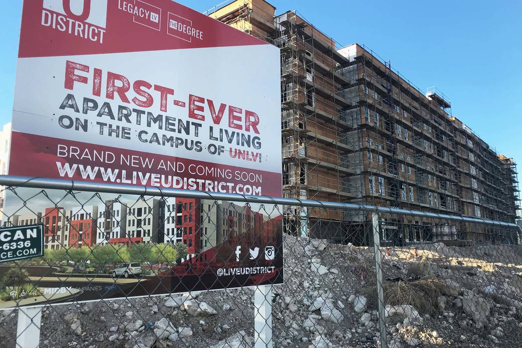 The site of a new student housing apartment complex near UNLV on Thursday, Jan. 11. Construction stopped in September 2017, and has not resumed since. (Natalie Bruzda/Las Vegas Review-Journal)