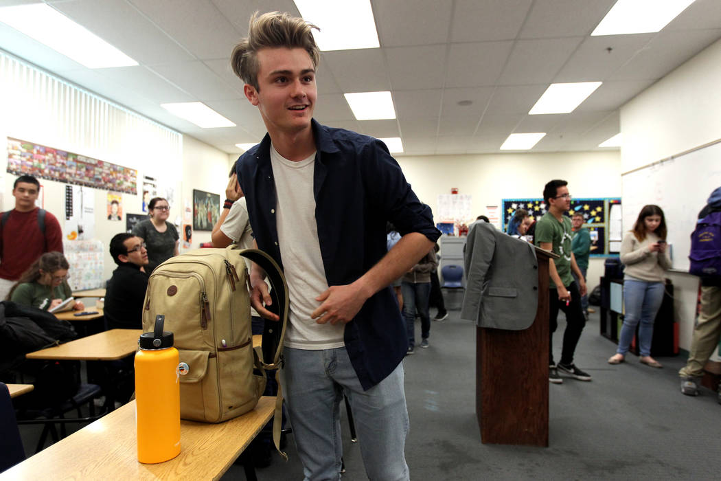 Rancho High School senior Sebastian Crawford, who received a $25,000 Horatio Alger scholarship, prepares for Speech and Debate team practice the school Thursday, Jan. 18, 2018. The 2018 Horatio Al ...