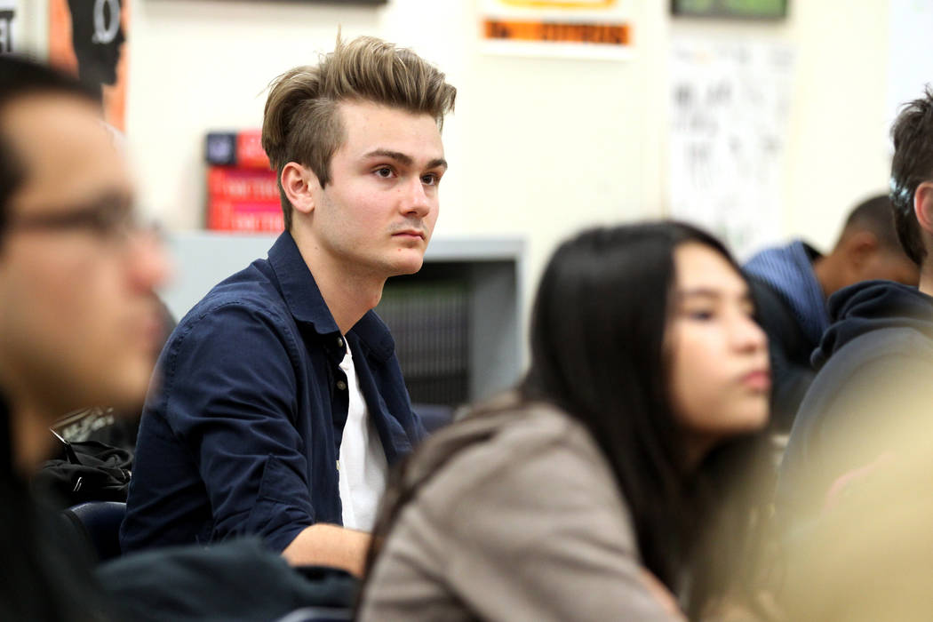 Rancho High School senior Sebastian Crawford, center, who received a $25,000 Horatio Alger scholarship, prepares for Speech and Debate team practice the school Thursday, Jan. 18, 2018. The 2018 Ho ...