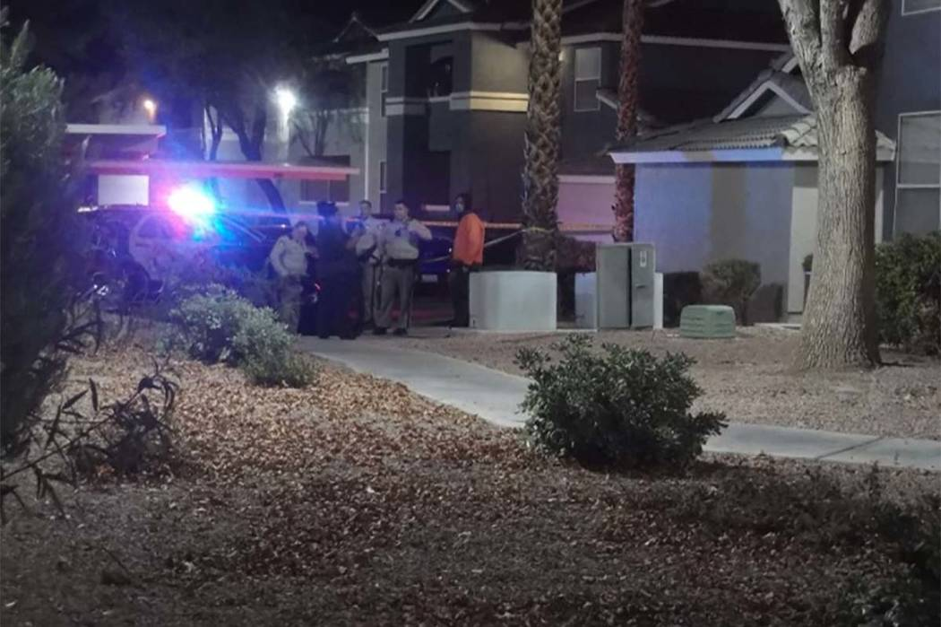 Las Vegas police are investigating a possible shooting Tuesday morning at the Sky Pointe apartment complex in northwest Las Vegas. (Max Michor/Las Vegas Review-Journal)