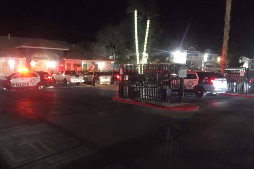 Las Vegas police were investigating an incident Tuesday morning at the Sky Pointe apartment complex. (Max Michor/Las Vegas Review-Journal)