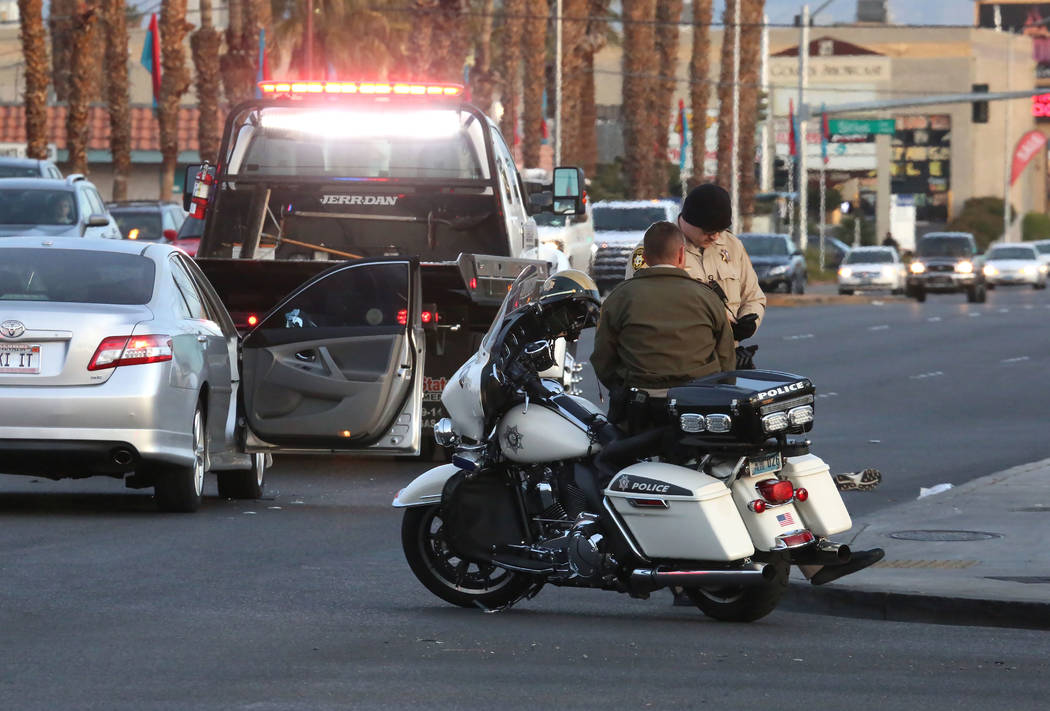 Las Vegas police are investigating a crash after a man was hit by a car at the intersection of Desert Inn Road and Valley View Boulevard on Tuesday, Jan. 16, 2018, in Las Vegas. (Bizuayehu Tesfaye ...