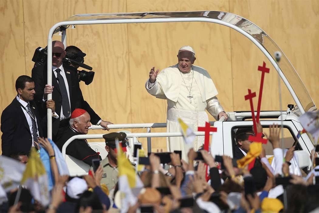 Pope Francis arrives to celebrate Mass at O'Higgins Park in Santiago, Chile, Tuesday, Jan. 16, 2018. (Natacha Pisarenko/AP)