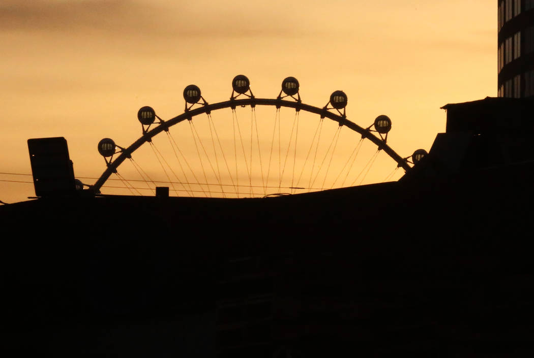 The High Roller is silhouetted against the morning sun on Tuesday, Jan. 16, 2018, on the Las Vegas Strip. (Bizuayehu Tesfaye/Las Vegas Review-Journal) @bizutesfaye