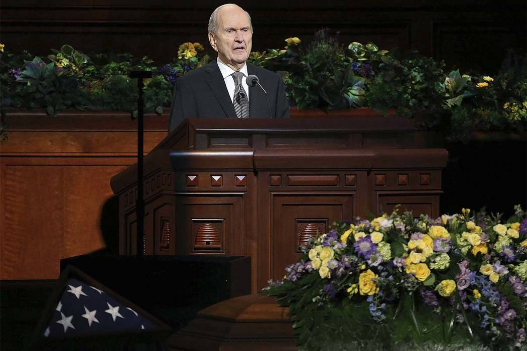 Russell M. Nelson speaks at Thomas S. Monson's funeral at the Conference Center in Salt Lake City on Friday, Jan. 12, 2018. The Church of Jesus Christ of Latter-day Saints president died Jan. 2 an ...