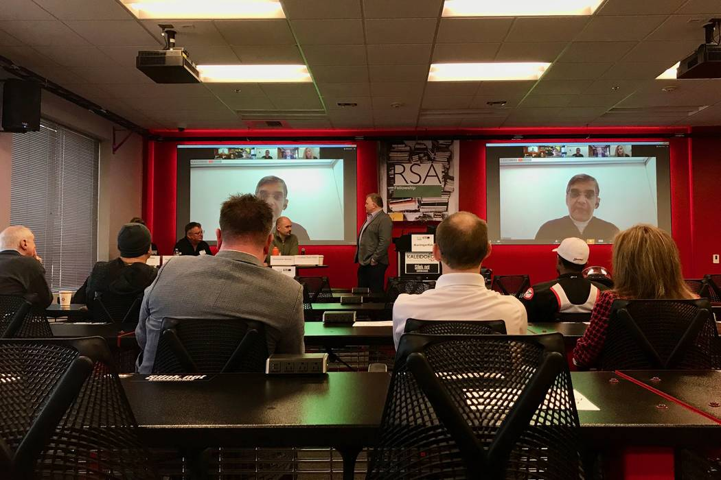 RSA fellows and members of the public watch as artificial intelligence experts debate about the definition of AI and how it should be incorporated into society's future. (Madelyn Reese/View) @Made ...