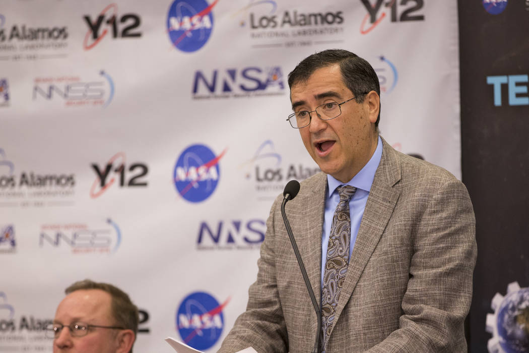 Mark Martinez, president of Mission Support and Test Services, speaks during a panel discussion on a future mission to Mars, at the National Atomic Testing Museum, in Las Vegas, Thursday, Jan. 18, ...