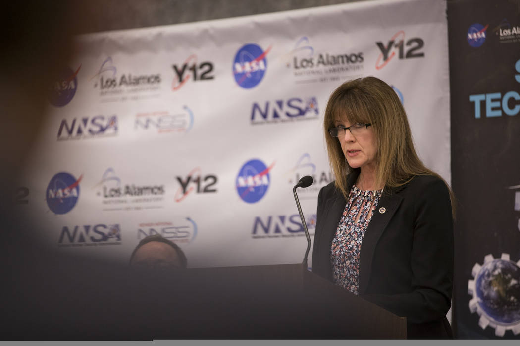 Dr. Janet Kavandi, director for NASA's Glenn Research Center, speaks during a panel discussion on a future mission to Mars, at the National Atomic Testing Museum, in Las Vegas, Thursday, Jan. 18,  ...