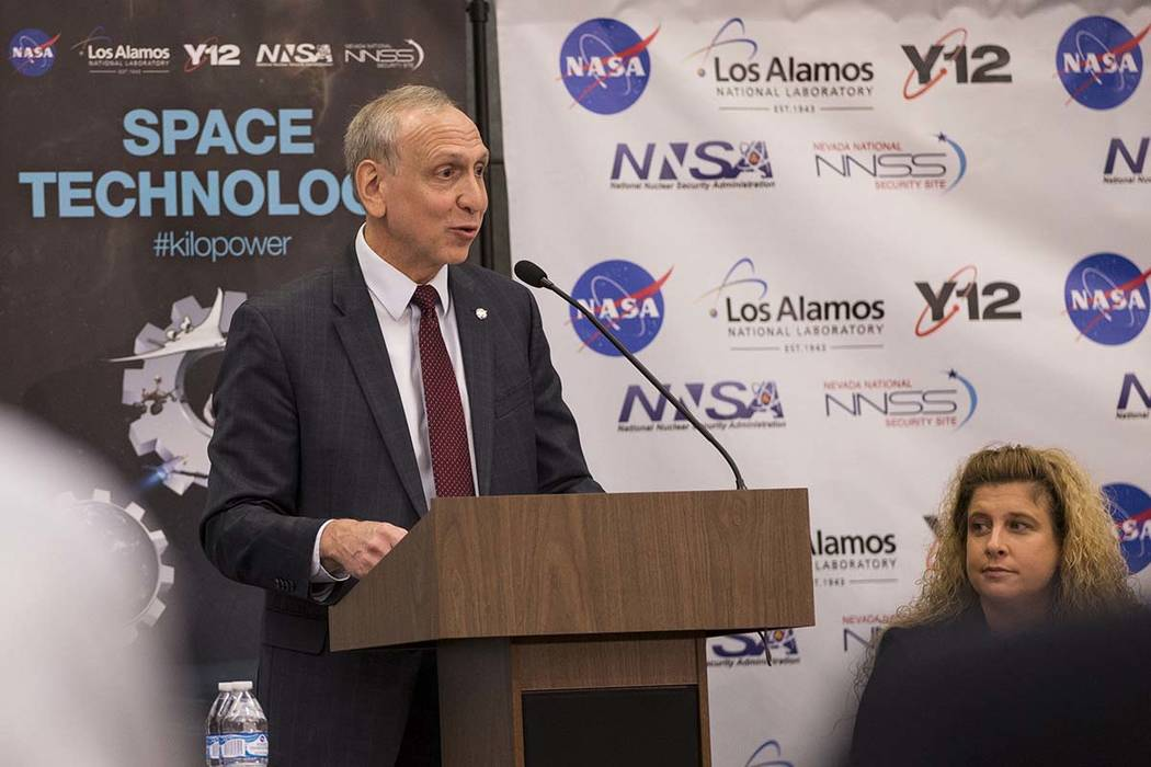 Steve Jurczyk, associate administrator for the Space Technology Mission Directorate, speaks during a panel discussion on a future mission to Mars, at the National Atomic Testing Museum, in Las Veg ...