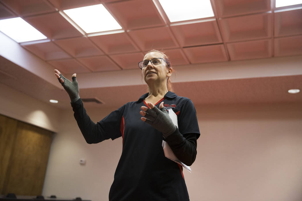 UNLV police Sgt. Denise Lutey during a Girls on Guard self-defense training for women at the UNLV Police Headquarters in Las Vegas, Wednesday, Jan. 24, 2018. (Erik Verduzco/Las Vegas Review-Journa ...