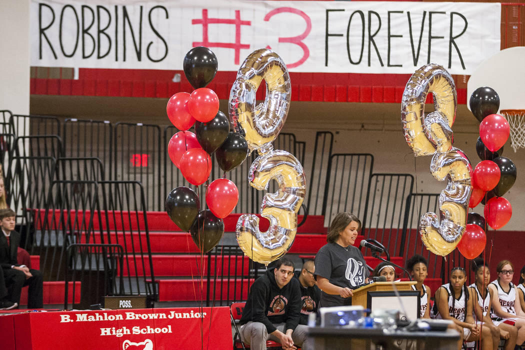 Banners hang to remember Quinton Robbins, a victim of the Oct. 1 shooting, at the B. Mahlon Brown Academy of International Studies on Wednesday, Jan. 17, 2018.  Patrick Connolly Las Vegas Review-J ...
