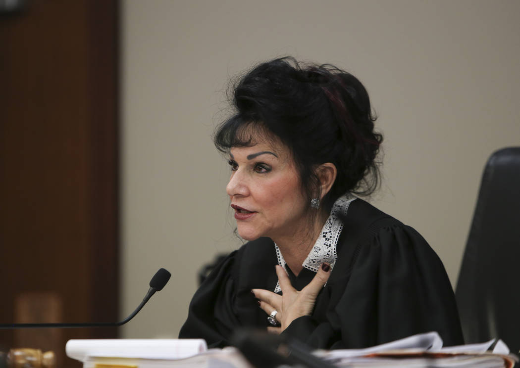 Judge Rosemarie Aquilina addresses a woman after her victim impact statement Tuesday, Jan. 16, 2018, during the first day of the sentencing hearing for former sports medicine doctor Larry Nassar,  ...