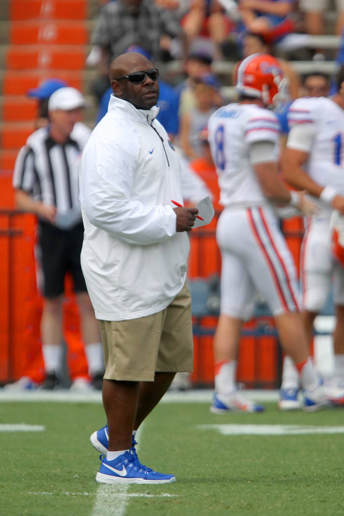 Former Florida Gators runningbacks coach Tim Skipper is seen in this April 11, 2015, file photo during the Gators' Spring Game at Ben Hill Griffin Stadium in Gainesville, Florida. Skipper has been ...