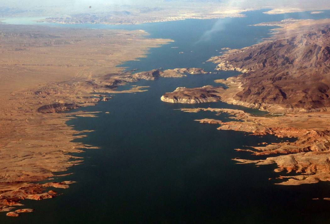 An aerial photo of Lake Mead Recreation Area on Friday, July 21, 2017, near Arizona. (Bizuayehu Tesfaye/ Las Vegas Review-Journal) @bizutesfaye