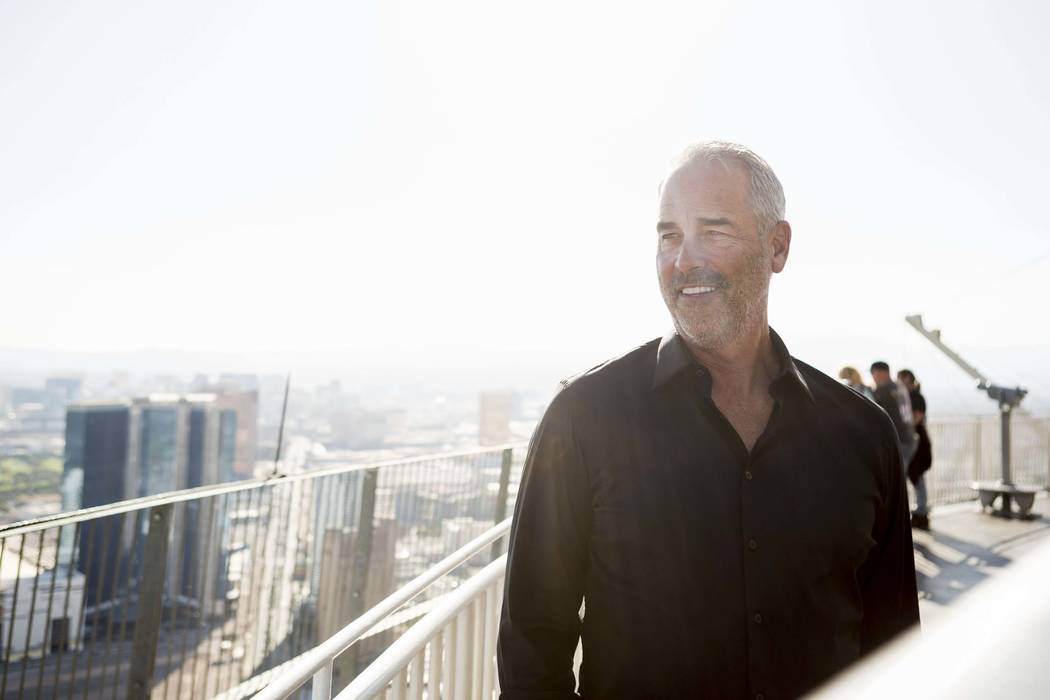 Golden Entertainment Chairman and CEO Blake Sartini Tuesday, Oct 31, 2017, in Las Vegas, on top of the Stratosphere Tower, which he recently acquired. (Elizabeth Brumley/Las Vegas Review-Journal)  ...