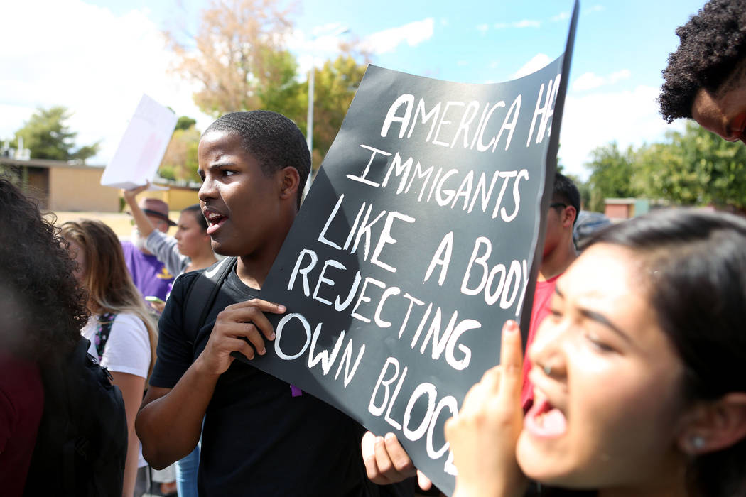 High school student JaVaughn Rhodes participates in a  rally in support of the DREAM Act in honor of his friends who have received DACA, at Rancho high school in Las Vegas, Wednesday, Sept. 13, 20 ...