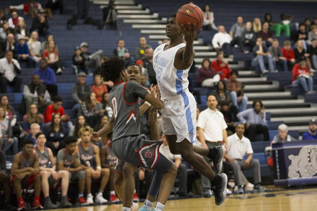 Centennial's Jalen Rich (22) goes up for a shot against Arbor View in the Basketball game at Centennial High School in Las Vegas, Wednesday, Jan. 17, 2018. Erik Verduzco Las Vegas Review-Journal @ ...