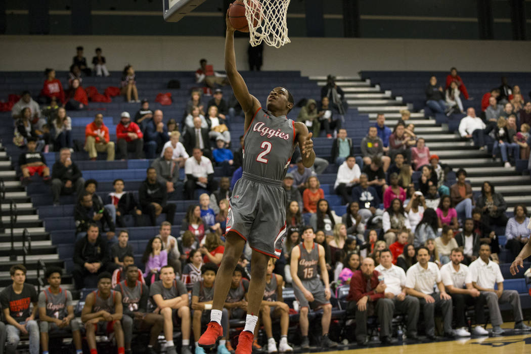 Arbor View's Favor Chukwukelu (2) goes up for a lay up against Centennial in the basketball game at Centennial High School in Las Vegas, Wednesday, Jan. 17, 2018. Erik Verduzco Las Vegas Review-Jo ...