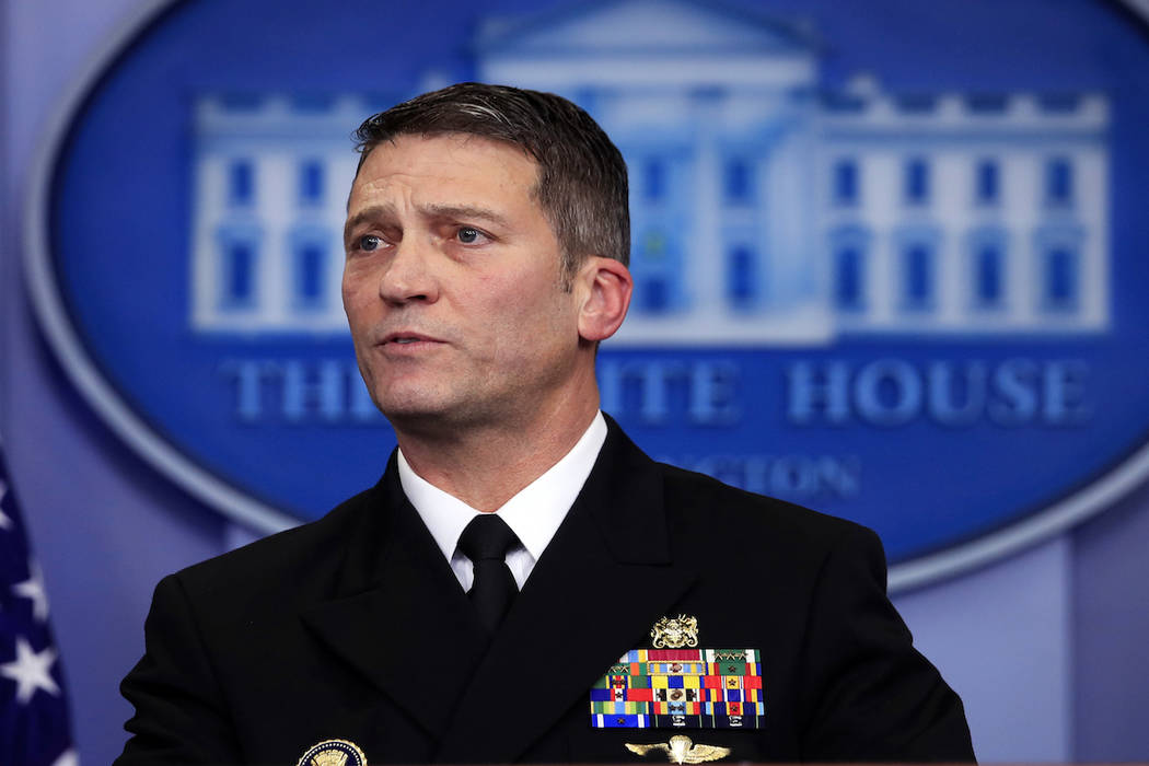 White House physician Dr. Ronny Jackson speaks to reporters during a daily press briefing with White House press secretary Sarah Huckabee Sanders in the Brady press briefing room at the White Hous ...