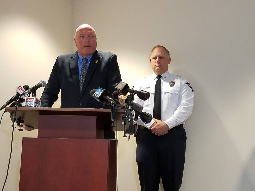 York County Sheriff Kevin Tolson, left, and York Police Chief Andy Robinson, right, speak to reporters  Tuesday, Jan. 16, 2018, at the York County Sheriff's Office in York, S. C.,  about th ...