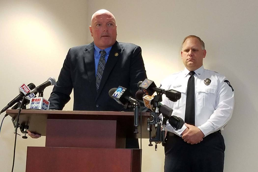 York County Sheriff Kevin Tolson, left, and York Police Chief Andy Robinson speak to reporters  Tuesday, Jan. 16, 2018, at the York County Sheriff's Office in York, S. C.,  about the four deputi ...