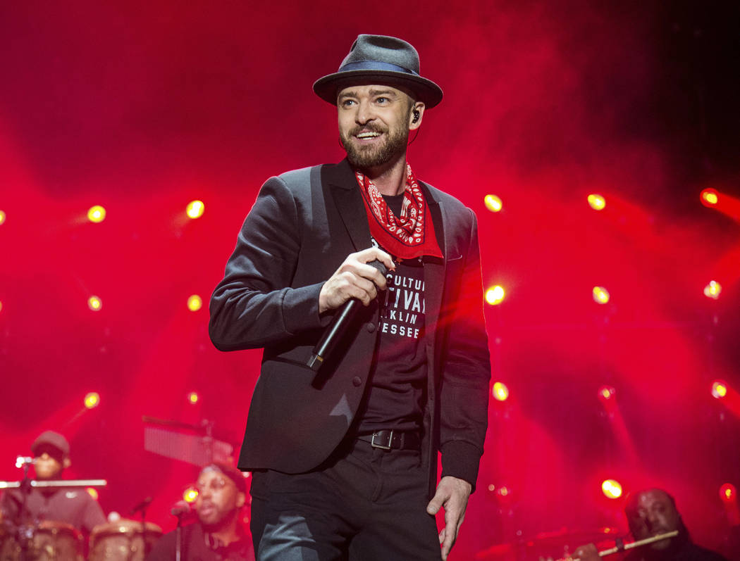 FILE- In this Sept. 23, 2017, file photo, Justin Timberlake performs at the Pilgrimage Music and Cultural Festival in Franklin, Tenn. (Photo by Amy Harris/Invision/AP, File)