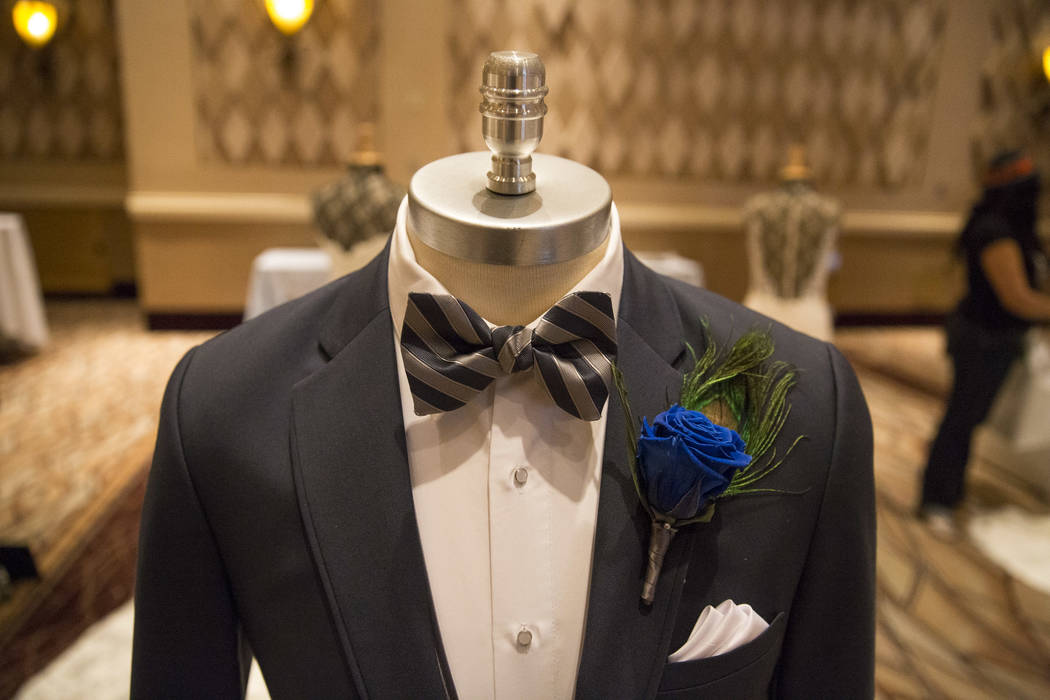 A rental tuxedo on display during the Bridal Spectacular wedding expo at the Rio Convention Center in Las Vegas on Sunday, Jan. 21, 2018. Richard Brian Las Vegas Review-Journal @vegasphotograph