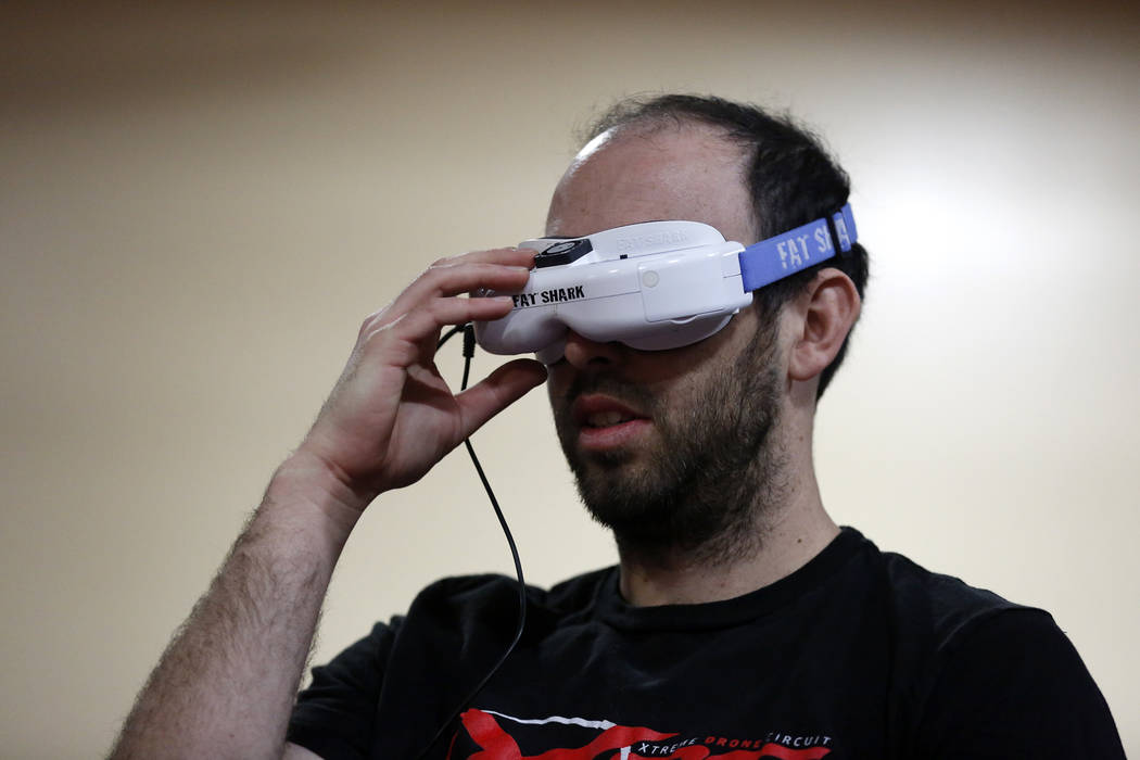 Harrison Gale, 27, competes in the 2017 Challengers Cup Finals, hosted by the International Drone Racing Association and the South Point in Las Vegas, Jan. 18, 2018. After 12 races around the worl ...