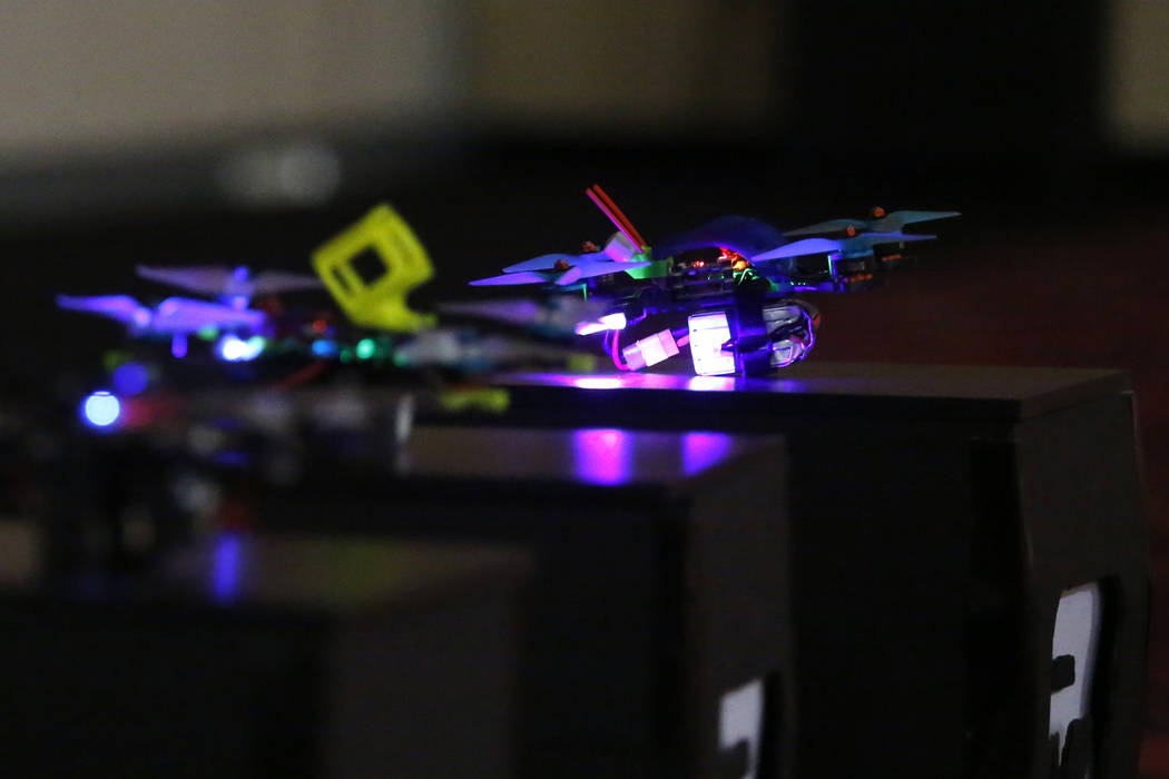 Drones are set for take-off during the 2017 Challengers Cup Finals, hosted by the International Drone Racing Association and the South Point in Las Vegas, Jan. 18, 2018. After 12 races around the  ...