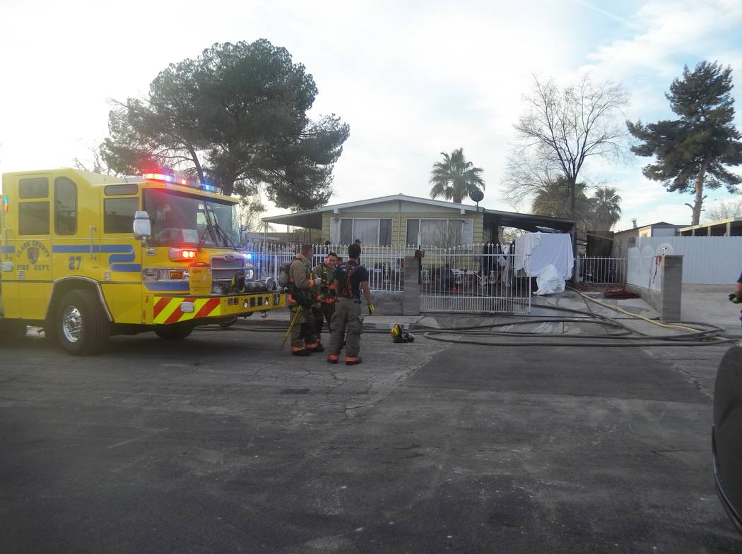 Clark County firefighters responded to a house fire at 4719 Fuentes Way in southeast Las Vegas, Wednesday, Jan. 17, 2018. (Max Michor/Las Vegas Review-Journal)